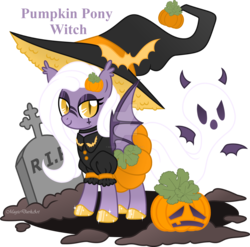 Size: 1600x1582 | Tagged: artist:magicdarkart, bat pony, female, ghost, grave, gravestone, hat, mare, obtrusive watermark, oc, oc only, pony, pumpkin, safe, simple background, solo, transparent background, witch hat