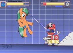 Size: 2000x1454   Tagged: safe, artist:trackheadtherobopony, oc, oc:glimmering shield, oc:trackhead, original species, pony, robot, robot pony, unicorn, wheelpone, drill, duo, fight, fighting game, health bars, magic