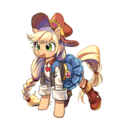 Size: 600x600 | Tagged: safe, artist:quizia, applejack, earth pony, pony, dance magic, spoiler:eqg specials, :p, belt, boots, clothes, cowboy boots, cowboy hat, cute, denim skirt, equestria girls ponified, female, hat, jackabetes, mare, ponified, shirt, shoes, silly, simple background, skirt, tongue out, vest, white background