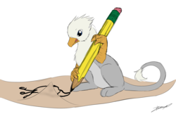 Size: 1907x1234 | Tagged: safe, artist:tinibirb, artist:xeirla, color edit, edit, oc, oc only, oc:der, oc:gyro feather, oc:gyro tech, griffon, colored, drawing, griffonized, male, micro, pencil, sketch, solo, species swap, wingless