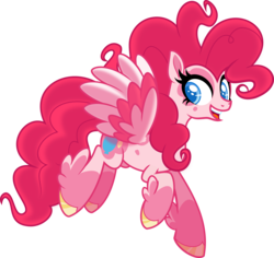 Size: 5000x4728 | Tagged: safe, artist:orin331, pinkie pie, pegasus, pony, leak, spoiler:g5, absurd resolution, coat markings, colored hooves, colored pupils, colored wings, feathered fetlocks, flying, g5, multicolored wings, pegasus pinkie pie, pinkie pie (g5), race swap, simple background, solo, transparent background, vector