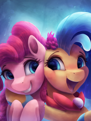 Size: 2250x3000 | Tagged: safe, artist:vanillaghosties, pinkie pie, princess skystar, seapony (g4), my little pony: the movie, cute, debatably not shipping, diapinkes, female, open mouth, skyabetes