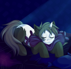 Size: 3100x3000 | Tagged: artist:kreecker, bed, oc, oc only, pillow, pony, safe, sleeping, solo, unicorn, ych result