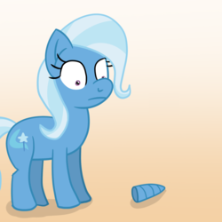 Size: 1280x1280 | Tagged: safe, artist:solarfm, trixie, pony, unicorn, female, gradient background, mare, missing horn, solo, worried