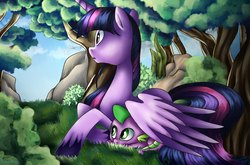 Size: 960x632   Tagged: safe, artist:emositecc, artist:sdmlp8184, spike, twilight sparkle, alicorn, dragon, pony, collaboration, colored wings, colored wingtips, female, forest, grass, mama twilight, mare, tree, twilight sparkle (alicorn), wing shelter