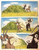Size: 1076x1372 | Tagged: safe, artist:thefriendlyelephant, oc, oc only, oc:sabe, oc:uganda, antelope, giant sable antelope, comic:sable story, africa, animal in mlp form, bush, clenched teeth, cloven hooves, comic, horns, running, savanna, scared, speed lines, traditional art