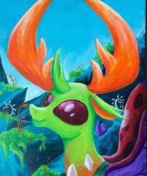 Size: 798x960   Tagged: safe, artist:colorsceempainting, thorax, changedling, changeling, canvas, king thorax, male, paint, painting, scenery, smiling, solo, stone, traditional art