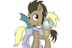 Size: 5315x3543 | Tagged: safe, artist:sparkleshadow, derpy hooves, doctor whooves, time turner, changeling, earth pony, pony, alternate universe, changelingified, cute, derpabetes, doctorbetes, doctorderpy, female, hug, male, mare, open mouth, shipping, simple background, species swap, stallion, straight, white background