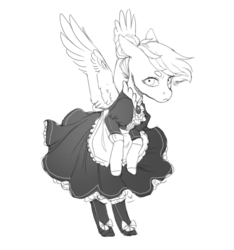 Size: 650x693 | Tagged: safe, artist:amphoera, oc, oc only, oc:venti via, pegasus, pony, beanbrows, bow, clothes, dress, eyebrows, female, maid, monochrome, simple background, socks, solo, spread wings, wings