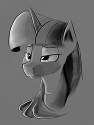 Size: 1200x1600 | Tagged: artist:itsthinking, artist:post-it, bust, lidded eyes, monochrome, pony, portrait, safe, smiling