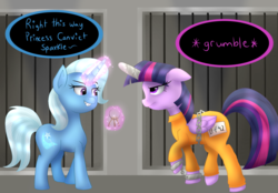 Size: 1200x834   Tagged: safe, artist:queenwildfire2k18, trixie, twilight sparkle, alicorn, pony, bound wings, chains, clothes, cuffs, frustrated, horn cap, jail, magic suppression, prison, prison outfit, prisoner, prisoner ts, shackles, smiling, smirk, smug, twilight sparkle (alicorn), unamused