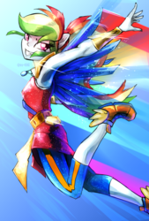 Size: 1377x2039   Tagged: safe, artist:oberon826, rainbow dash, equestria girls, legend of everfree, armpits, crystal guardian, crystal wings, female, flying, looking at you, pixiv, ponied up, solo, winged shoes, wings