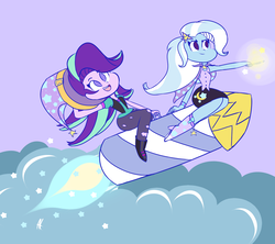 Size: 1457x1294 | Tagged: safe, artist:angelloveponyheart, starlight glimmer, trixie, equestria girls, boots, cape, clothes, cute, diatrixes, equestria girls interpretation, female, glim, glim glam, glimmerbetes, glimmy, guardians of harmony, hat, high heel boots, jacket, jeans, magic wand, pants, rocket, shoes, skirt, sweet dreams fuel, toy, toy interpretation, trixie's cape, trixie's hat, trixie's rocket