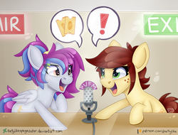 Size: 7318x5554 | Tagged: safe, artist:partylikeanartist, oc, oc only, oc:aerial soundwaves, oc:canni soda, pegasus, pony, galacon, galacon 2018, 2018, absurd resolution, announcement, cute, deviantart logo, female, freckles, golden ticket, heart eyes, mascot, microphone, on air, open mouth, patreon, patreon logo, ponytail, ponyvillefm, radio, shameless advertising, speech bubble, starry eyes, studio, surprised, tickets, watermark, wingding eyes