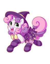 Size: 1100x1400   Tagged: safe, artist:bobdude0, artist:jitterladybug, sweetie belle, pony, unicorn, clothes, collaboration, cute, female, filly, hat, simple background, socks, solo, striped socks, transparent background, witch hat