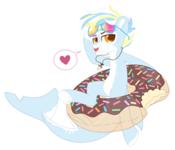 Size: 2128x1834 | Tagged: safe, artist:hawthornss, oc, oc only, oc:ocean park, original species, shark, shark pony, bedroom eyes, chest fluff, ear fluff, heart, inner tube, jewelry, looking at you, necklace, pictogram, scar, shark tooth, shark tooth necklace, simple background, smiling, speech bubble, sunglasses, tongue out, transparent background, underhoof