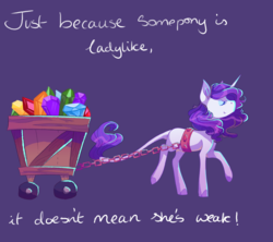Size: 3600x3200   Tagged: safe, artist:uunicornicc, rarity, pony, unicorn, a dog and pony show, cart, chains, female, gem, harness, leonine tail, mare, positive ponies, purple background, simple background, smiling, solo, tack, text