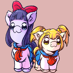 Size: 1024x1024   Tagged: safe, artist:witchtaunter, pony, bow, clothes, crossover, cute, female, hair bow, mare, pigtails, pipimi, ponified, pop team epic, popuko, school uniform, skirt, smiling, this will end in death