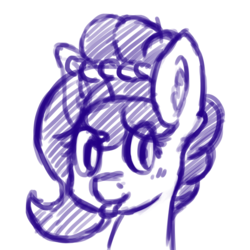 Size: 1024x1024 | Tagged: safe, artist:dsp2003, oc, oc only, oc:brownie bun, earth pony, pony, :p, bust, ear fluff, female, looking at you, mare, mlem, monochrome, silly, simple background, sketch, solo, tongue out, white background