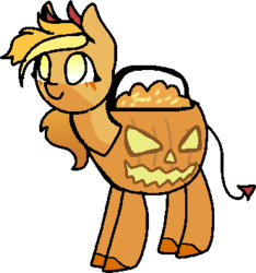 Size: 332x355 | Tagged: safe, artist:nootaz, oc, oc only, oc:looty, halloween, holiday, loot box, pumpkin bucket, simple background, smiling, solo, transparent background