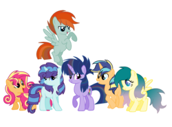 Size: 1840x1360   Tagged: safe, artist:thesmall-artist, oc, oc only, oc:apple shield, oc:butterfly, oc:colour sparkling, oc:fashion favor, oc:rainbow sun, oc:sweet sun, earth pony, pegasus, pony, unicorn, female, interspecies offspring, magical lesbian spawn, mare, offspring, parent:applejack, parent:fluttershy, parent:party favor, parent:pharynx, parent:pinkie pie, parent:rainbow dash, parent:rarity, parent:shining armor, parent:sunset shimmer, parent:twilight sparkle, parents:partity, parents:shiningjack, parents:sunsetpie, parents:twidash, simple background, transparent background
