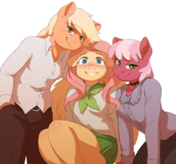 Size: 2033x1898 | Tagged: safe, artist:audrarius, applejack, cheerilee, fluttershy, earth pony, pegasus, anthro, fanfic:flutters of fancy, blushing, cheeribetes, clothes, collar, cute, fanfic, fanfic art, female, jackabetes, looking at you, mare, pants, school uniform, shirt, shyabetes, simple background, skirt, smiling, trio