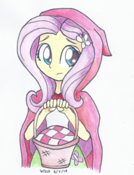 Size: 560x730 | Tagged: safe, artist:astevenamedwolf, fluttershy, equestria girls, basket, clothes, cute, female, holding, little red riding hood, looking away, looking sideways, shyabetes, simple background, solo, traditional art, white background
