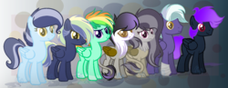 Size: 1253x487 | Tagged: artist:marielle5breda, female, half-siblings, hippogriff, interspecies offspring, magical lesbian spawn, mare, oc, oc:color mane, oc:music strings, oc:purple note, oc:soft speed, oc:thunder, oc:thunder cloud, offspring, parent:gilda, parent:octavia melody, parent:rainbow dash, parents:giltavia, parent:sky stinger, parent:soarin', parents:soarindash, parents:vaporsky, parents:zephdash, parent:vapor trail, parent:zephyr breeze, pegasus, pony, safe, siblings, sisters