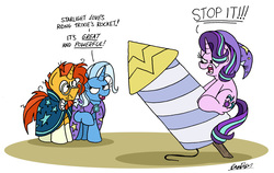 Size: 3136x1981   Tagged: safe, artist:bobthedalek, starlight glimmer, sunburst, trixie, pony, unicorn, angry, cape, clothes, dialogue, double entendre, female, hat, hilarious in hindsight, implied lesbian, implied shipping, implied startrix, innuendo, male, mare, messy mane, nudge, riding, rocket, simple background, stallion, starlight is not amused, toy interpretation, trixie's cape, trixie's hat, trixie's rocket, unamused, white background