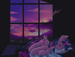 Size: 3000x2300   Tagged: safe, artist:xjenn9, twilight sparkle, alicorn, pony, adorkable, bed, book, cloud, cute, cyrillic, dork, female, mare, pillow, russian, sky, sleeping, smiling, solo, sweet dreams fuel, twiabetes, twilight (astronomy), twilight sparkle (alicorn), window