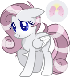 Size: 943x1039 | Tagged: artist:creepyquartz, female, gradient hooves, magical lesbian spawn, mare, oc, oc:angel, oc only, offspring, parent:fluttershy, parent:rarity, parents:flarity, pegasus, pony, raised hoof, safe, simple background, solo, transparent background