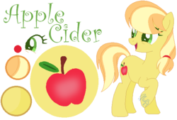 Size: 582x393 | Tagged: artist:marielle5breda, earth pony, female, mare, oc, oc:apple cider, offspring, parent:applejack, parent:caramel, parents:carajack, pony, reference sheet, safe, simple background, solo, transparent background