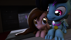 Size: 3840x2160 | Tagged: 3d, artist:rdashflare, cuddling, cute, dracony, duo, female, hybrid, looking at each other, male, mare, night, oc, oc only, oc:pawprint, oc:rdash, pegasus, pony, safe, sitting, source filmmaker, stallion