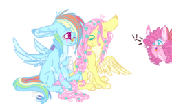 Size: 1527x937 | Tagged: safe, artist:dashkatortik12222222, fluttershy, pinkie pie, rainbow dash, earth pony, pegasus, pony, bandage, bandaid, blushing, female, floppy ears, flower, flower in hair, flutterdash, hair over one eye, lesbian, long ears, looking at each other, pale belly, shipping, simple background, sitting, smiling, spread wings, transparent background, wings