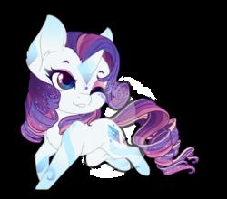 Size: 854x750 | Tagged: safe, artist:fuyusfox, rarity, pony, unicorn, chibi, cute, eyeshadow, female, makeup, mare, one eye closed, rainbow power, raribetes, simple background, smiling, solo, traditional art, transparent background, watermark, wink