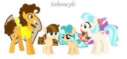 Size: 1142x530 | Tagged: safe, artist:sohoneyle, cheese sandwich, coco pommel, oc, oc:craker mel, oc:ocean flower, earth pony, pony, base used, cheesecoco, colt, female, filly, male, offspring, parent:cheese sandwich, parent:coco pommel, parents:cheesecoco, shipping, simple background, straight, transparent background