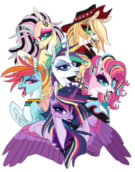 Size: 550x700 | Tagged: safe, artist:creeate97, applejack, fluttershy, pinkie pie, rainbow dash, rarity, twilight sparkle, alicorn, earth pony, pegasus, pony, unicorn, alternate hairstyle, applepunk, bust, clothes, curved horn, ear fluff, ear piercing, earring, eyebrow piercing, female, flutterpunk, hat, jacket, jewelry, leather jacket, lidded eyes, lipstick, mane six, mare, nose piercing, nose ring, open mouth, piercing, punk, punkie pie, rainbow punk, raripunk, signature, simple background, spread wings, tongue out, tongue piercing, transparent background, twilight sparkle (alicorn), wings