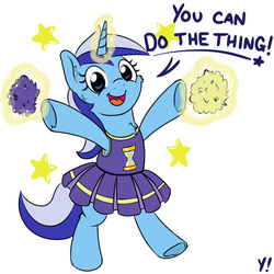 Size: 1000x1000 | Tagged: safe, artist:yakoshi, minuette, pony, unicorn, 30 minute art challenge, bipedal, cheek fluff, cheering, cheerleader, chest fluff, clothes, cute, do the thing, female, happy, levitation, looking at you, magic, mare, minubetes, motivational, open mouth, pom pom, positive ponies, raised leg, simple background, smiling, solo, stars, telekinesis, text, underhoof, white background