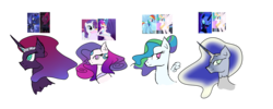Size: 5000x2000 | Tagged: artist:creepyquartz, bust, dashlestia, ethereal mane, female, floating wings, incest, lesbian, magical lesbian spawn, mare, mooncest, my little pony: the movie, nightmare moon, offspring, parent:nightmare moon, parent:princess celestia, parent:princess luna, parent:queen novo, parent:rainbow dash, parent:rarity, parents:dashlestia, parents:rarinovo, parents:tempestluna, parent:tempest shadow, princess celestia, princess luna, product of incest, queen novo, rainbow dash, rarinovo, rarity, safe, seapony (g4), shipping, simple background, spoiler:my little pony: the movie, tempestluna, tempest shadow, transparent background