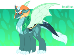 Size: 1600x1200 | Tagged: safe, artist:faith-wolff, oc, oc only, oc:prince basilisk, hybrid, abstract background, changeling hybrid, colored sclera, faithverse, interspecies offspring, male, next generation, offspring, parent:princess ember, parent:thorax, parents:embrax, slit pupils, solo