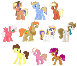 Size: 2500x2147 | Tagged: artist:detoxx-retoxx, base used, clothes, colored pupils, earth pony, female, half-siblings, hat, male, mare, necktie, next generation, oc, oc:autumn gold, oc:chocolate chip, oc:cream puff, oc:crystalline, oc:flitterbug, oc only, oc:pierre chic, oc:red pippin, oc:sprinkle pie, oc:wednesday paper, oc:wild blue, offspring, parent:applejack, parent:big macintosh, parent:cheese sandwich, parent:donut joe, parent:dumbbell, parent:flim, parent:fluttershy, parent:pinkie pie, parent:prince blueblood, parent:quibble pants, parent:rainbow dash, parent:rarity, parents:cheesepie, parents:dumbdash, parents:flimjack, parents:fluttermac, parents:quibblelight, parents:rariblood, parents:rarijoe, parent:twilight sparkle, pegasus, pony, safe, scarf, simple background, stallion, transparent background, unicorn, yoke