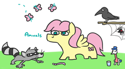 Size: 813x453 | Tagged: safe, artist:jargon scott, fluttershy, butterfly, earthworm, jackdaw, pegasus, pony, raccoon, spider, worm, aminals, animal, butterscotch, drinking bird, male, rule 63, simple background, spider web, squatpony, stallion, white background
