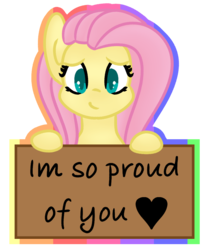 Size: 954x1149 | Tagged: safe, artist:azure-quill, fluttershy, pony, bust, looking at you, positive ponies, sign, simple background, solo, transparent background