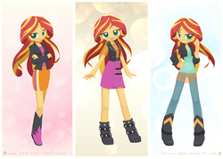 Size: 1407x1000 | Tagged: artist:howxu, boots, clothes, crossed arms, cute, equestria girls, geode of empathy, happy, high heel boots, howxu is trying to murder us, jacket, leather jacket, looking at you, moe, pants, safe, shimmerbetes, shoes, skirt, smiling, sunset shimmer