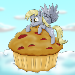 Size: 1391x1389 | Tagged: artist:lifesharbinger, cloud, derpy hooves, food, giant muffin, happy, muffin, pony, safe, solo