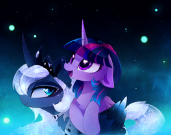 Size: 2868x2258 | Tagged: safe, artist:magnaluna, princess luna, twilight sparkle, alicorn, pony, :d, alternate hairstyle, alternate universe, curved horn, cute, daaaaaaaaaaaw, duo, ethereal mane, female, floppy ears, galaxy mane, heart eyes, hnnng, jewelry, magnaluna is trying to murder us, mare, open mouth, regalia, smiling, swirly markings, twiabetes, twilight sparkle (alicorn), wingding eyes