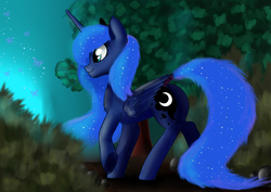 Size: 3508x2480   Tagged: safe, artist:php97, princess luna, alicorn, butterfly, pony, chest fluff, cute, dark, female, forest, freckles, glow, lunabetes, mare, missing accessory, nature, night, raised hoof, smiling, solo, underhoof, walking, wing fluff