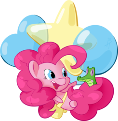 Size: 2431x2478 | Tagged: alligator, artist:batonya12561, balloon, chibi, cute, earth pony, female, floating, flying, gummy, mare, open mouth, pinkie pie, pony, safe, simple background, smiling, solo, then watch her balloons lift her up to the sky, tongue out, transparent background