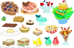 Size: 3176x2048   Tagged: safe, artist:wolfsknight, putting your hoof down, apple fritter (food), blueberry pie (food), cake, cherry, chips, chocolate, chocolate bar, cupcake, food, fried egg, ice cream, nachos, no pony, parsley, pie, resource, salad, sandwich, simple background, strawberry, sundae, transparent background, vector