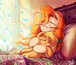 Size: 1199x1027 | Tagged: safe, artist:jowybean, applejack, pear butter, earth pony, pony, bed, bright, color porn, cute, daaaaaaaaaaaw, duo, eyes closed, featured image, feels, female, filly, filly applejack, flower petals, freckles, happy, heartwarming, hnnng, hug, jackabetes, jowybean is trying to murder us, mare, morning ponies, mother and daughter, pearabetes, petals, pillow, precious, smiling, sweet dreams fuel, weapons-grade cute, wholesome, younger
